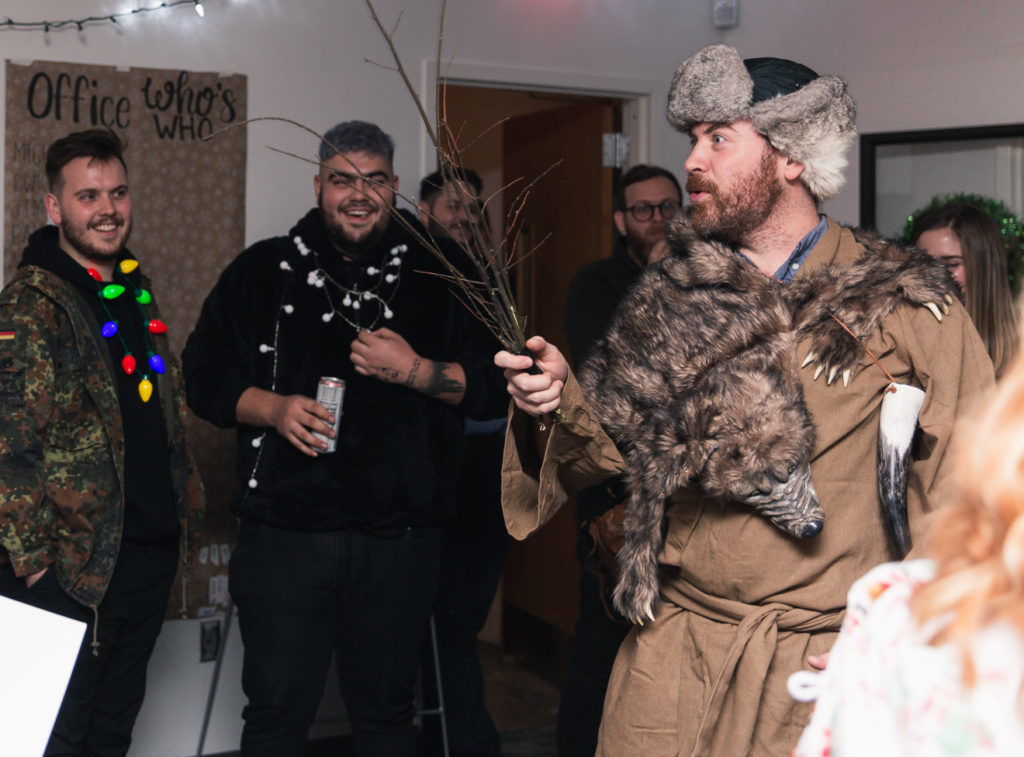 belsnickel character visits an office party