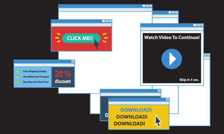 digital drawing of website pop-up advertisements