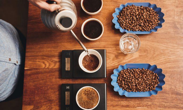 barista preparing multiple types of coffee beans