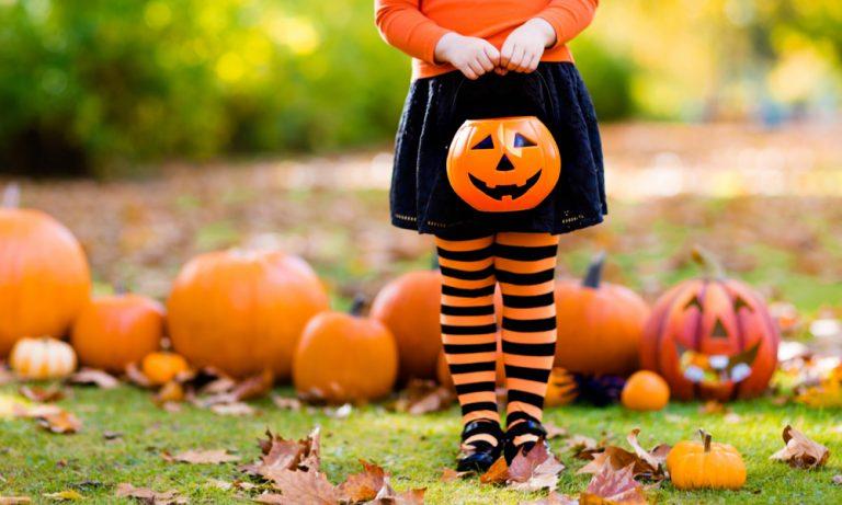 little girl dressed in black and orange holding a jack o lantern