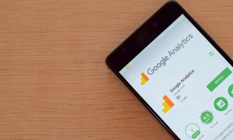 cell phone displaying the google analytics app