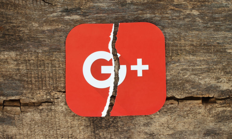 google plus logo ripped in half