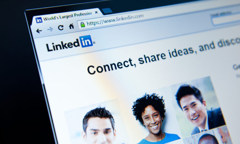 a computer screen with the linkedin login page displayed