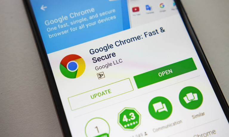 a phone with the google chrome app open